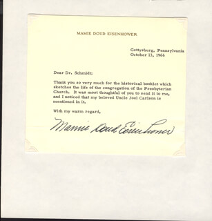 FIRST LADY MAMIE DOUD EISENHOWER - TYPED LETTER SIGNED 10/13/1966
