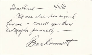 BRUCE (HERMAN BRIX) BENNETT - AUTOGRAPH NOTE SIGNED 11/11/1981