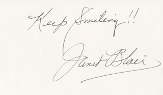 JANET BLAIR - AUTOGRAPH SENTIMENT SIGNED