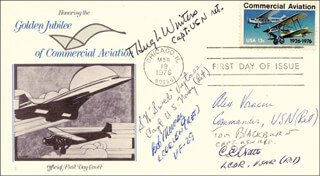 CAPTAIN TOM BLACKBURN - FIRST DAY COVER SIGNED CO-SIGNED BY: CAPTAIN THEODORE HUGH WINTERS JR., COMMANDER ALEXANDER VRACIU, LT. COMMANDER CHARLES E. WATTS, CAPTAIN STANLEY W. SWEDE VEJTASA, ROBERT E. BOB MURRAY