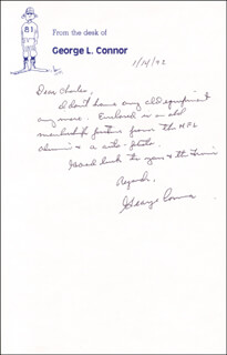 GEORGE CONNOR - AUTOGRAPH LETTER SIGNED 01/14/1992