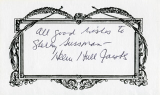 HELEN HULL JACOBS - INSCRIBED SIGNATURE