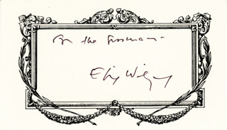 Autographs: ELIE WIESEL - INSCRIBED PRINTED CARD SIGNED IN INK