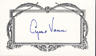 CYRUS VANCE - PRINTED CARD SIGNED IN INK