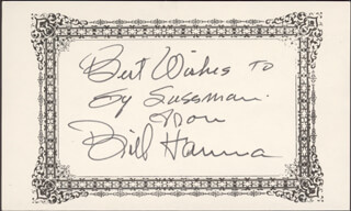 BILL HANNA - AUTOGRAPH NOTE SIGNED