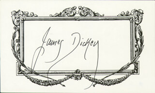 Autographs: JAMES DICKEY - PRINTED CARD SIGNED IN INK