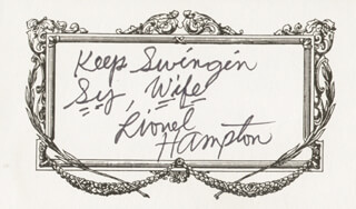 LIONEL HAMPTON - AUTOGRAPH NOTE SIGNED