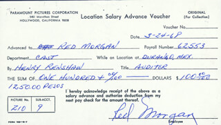 RED (BOYD) MORGAN - DOCUMENT SIGNED 03/24/1968