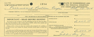 EDDIE FOY JR. - DOCUMENT SIGNED 10/13/1954