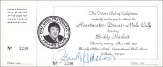 BUDDY HACKETT - INVITATION SIGNED CIRCA 1972