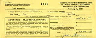 JOHN WILLIAMS - DOCUMENT SIGNED 02/02/1955