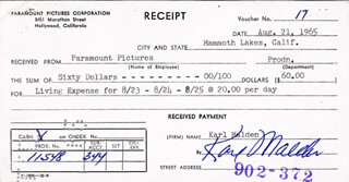 KARL MALDEN - RECEIPT SIGNED 08/21/1965