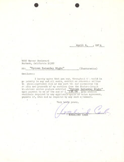 Autographs: ROSALIND CASH - CONTRACT SIGNED 04/04/1974