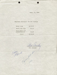 PAT CRAWLEY - DOCUMENT SIGNED 09/11/1952