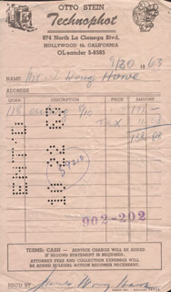 JAMES WONG HOWE - RECEIPT SIGNED 09/30/1963