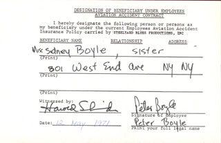 PETER BOYLE - DOCUMENT SIGNED 05/12/1971