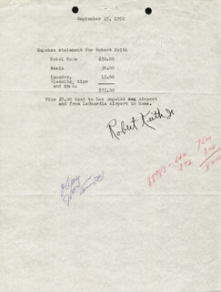 BRIAN KEITH - DOCUMENT SIGNED 09/15/1952