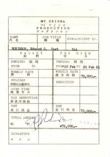 EDWARD G. ROBINSON - DOCUMENT SIGNED 2/1961
