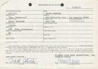 Autographs: EDITH ATWATER - CONTRACT SIGNED 10/01/1973