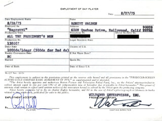 ROBERT WALDEN - CONTRACT SIGNED 08/27/1975
