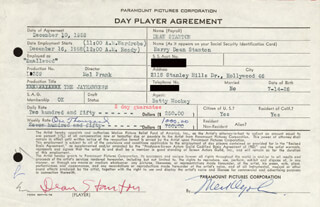 HARRY DEAN STANTON - CONTRACT SIGNED 12/10/1958