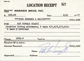 PAT HINGLE - RECEIPT SIGNED 06/02/1977