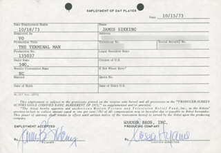 THE TERMINAL MAN MOVIE CAST - ONE DAY MOVIE CONTRACT SIGNED 10/18/1973 CO-SIGNED BY: JAMES B. SIKKING, NESSA HYAMS