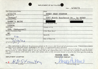 HARRY DEAN STANTON - CONTRACT SIGNED 04/10/1973