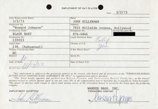 JOHN HILLERMAN - ANNOTATED CONTRACT SIGNED 03/02/1973