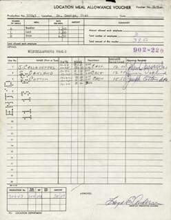 ALEXANDER THE GREAT MOVIE CAST (1964) - DOCUMENT SIGNED CO-SIGNED BY: JOSEPH COTTEN, SIMON SI OAKLAND, JOHN CASSAVETES