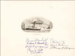 THE WILLIAM H. REHNQUIST COURT - SUPREME COURT ENGRAVING SIGNED CO-SIGNED BY: ASSOCIATE JUSTICE BYRON R. WHITE, ASSOCIATE JUSTICE LEWIS F. POWELL JR., ASSOCIATE JUSTICE POTTER STEWART, ASSOCIATE JUSTICE WILLIAM J. BRENNAN JR., ASSOCIATE JUSTICE THURGOOD MARSHALL, CHIEF JUSTICE WILLIAM H. REHNQUIST, ASSOCIATE JUSTICE HARRY A. BLACKMUN, ASSOCIATE JUSTICE JOHN PAUL STEVENS