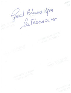 Autographs: MOTHER TERESA - PHOTOGRAPH SIGNED