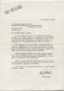 RAY MILLAND - TYPED LETTER SIGNED 04/25/1947