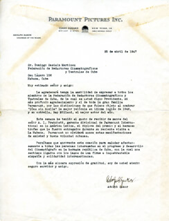 ADOLPH POPS ZUKOR - TYPED LETTER SIGNED 04/25/1947