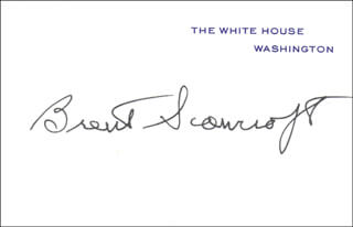 BRENT SCOWCROFT - WHITE HOUSE CARD SIGNED