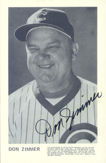 DON ZIMMER - PRINTED PHOTOGRAPH SIGNED IN INK