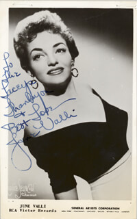 JUNE VALLI - INSCRIBED PICTURE POSTCARD SIGNED