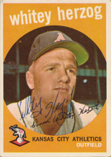 WHITEY HERZOG - TRADING/SPORTS CARD SIGNED