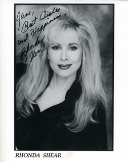 RHONDA SHEAR - INSCRIBED PRINTED PHOTOGRAPH SIGNED IN INK