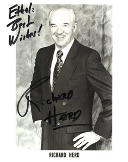 RICHARD HERD - INSCRIBED PRINTED PHOTOGRAPH SIGNED IN INK