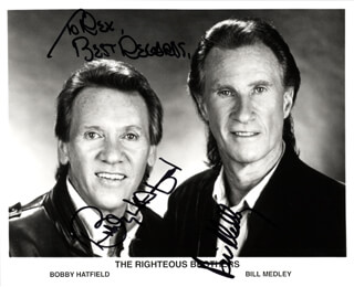 THE RIGHTEOUS BROTHERS - AUTOGRAPHED INSCRIBED PHOTOGRAPH CO-SIGNED BY: THE RIGHTEOUS BROTHERS (BILL MEDLEY), THE RIGHTEOUS BROTHERS (BOBBY HATFIELD)