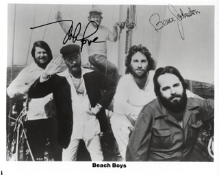 THE BEACH BOYS - AUTOGRAPHED SIGNED PHOTOGRAPH CO-SIGNED BY: THE BEACH BOYS (MIKE LOVE), THE BEACH BOYS (BRUCE JOHNSTON) - HFSID 210955