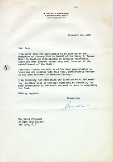 Autographs: W. AVERELL HARRIMAN - TYPED LETTER SIGNED 02/15/1960