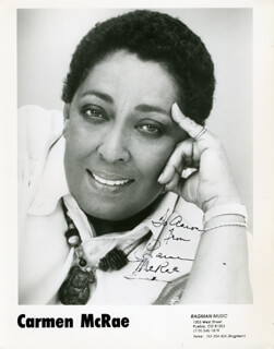 CARMEN McRAE - INSCRIBED PRINTED PHOTOGRAPH SIGNED IN INK
