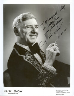 HANK SINGING RANGER SNOW - AUTOGRAPHED INSCRIBED PHOTOGRAPH 11/27/1978