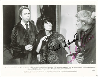 AMERICATHON MOVIE CAST - PRINTED PHOTOGRAPH SIGNED IN INK CO-SIGNED BY: RICHARD SCHAAL, JOHN RITTER