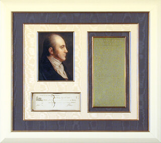 Autographs: VICE PRESIDENT AARON BURR - CHECK SIGNED 07/15/1800