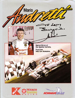MARIO ANDRETTI - INSCRIBED ADVERTISEMENT SIGNED