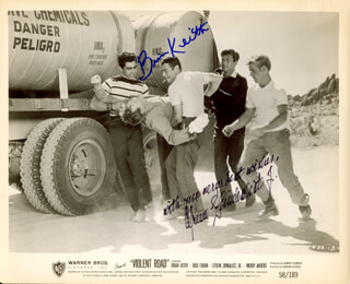 VIOLENT ROAD MOVIE CAST - AUTOGRAPHED SIGNED PHOTOGRAPH CO-SIGNED BY: EFREM ZIMBALIST JR., BRIAN KEITH