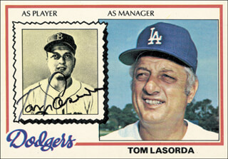 TOM LASORDA - TRADING/SPORTS CARD SIGNED